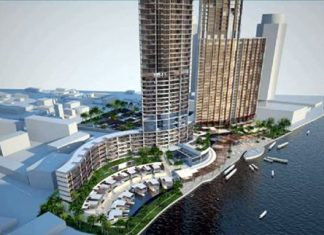 A scale model shows Country Group Development's proposed plans for the Landmark Waterfront project in Bangkok.