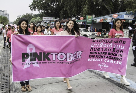 The contestants also took part in the Pinktober Parade, a campaign to raise breast cancer awareness and solicit funds to find the cure along the famous Beach Road, Pattaya.