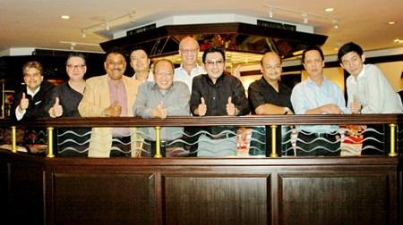 The balcony scene (L to R) Tony Malhotra (Pattaya Mail), Jorge Carlos Smith (GM Hard Rock Hotel), Peter Malhotra (Pattaya Mail), Nopporn Kanchanamanee (District Sales Manager of Thai Airways, Pattaya), Chatchawal Supachayanont (GM Dusit Thani Pattaya), Philippe Delaloye, Prayuth Thamdhum (GM Montien Pattaya), Chonlatee Nakamadee, (GM dusitD2 Baraquda Pattaya), Neoh Kean Boon (RM Dusit Thani Pattaya), Sanpech Supabowornsthian (GM Long Beach Garden Hotel & Spa Pattaya).