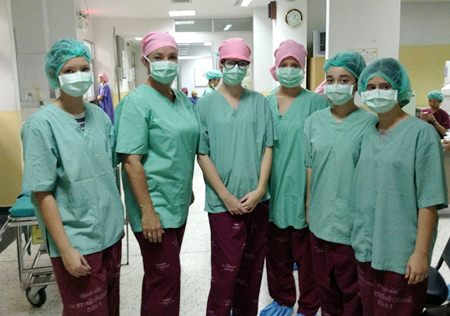 Students coming out of surgery.