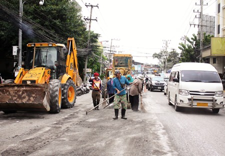 Road workers have been called out to patch holes in Second Road after the heavy rains earlier this month.