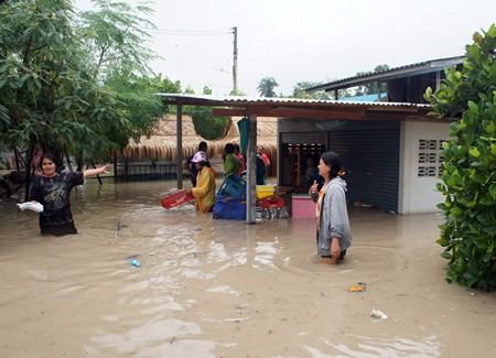 Homes in Fang Thon were inundated with up to 1.2 meters of muddy floodwater.
