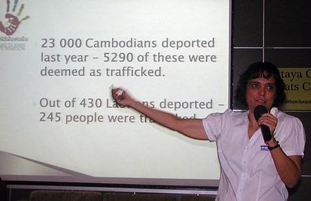 """Margaret (Margie) Grainger, of the Hand To Hand Foundation, began her talk to the Pattaya City Expats Club at their Sunday meeting on October 13, with the message """"Human trafficking is a modern form of slavery"""". Child beggars are one of the more obvious forms of human trafficking, but they are only the tip of the iceberg."""