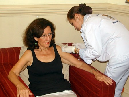 Member Alba avails herself of the annual flu shot, arranged for Pattaya City Expats by the courteous staff of Bangkok Hospital Pattaya.