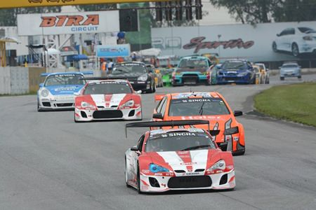 Nattavude Charoensukhawatana in his Toyota leads the Super Series Class 2 race at Bira Circuit on Saturday, Oct. 5.