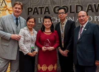 """Martin Craigs (far left), CEO of Pacific Asia Travel Association (PATA) presents the Education and Training Award in the PATA Grand Awards 2013 for the training program """"4Cs: Centara Career Creation for Children"""" to Centara Hotels & Resorts. The award was received in a ceremony at Chengdu, in China, by Pattara Jongcharoenkulchai (center), vice president for human resources, and Ratchadet Suksin (2nd right), director of training at Centara Hotels & Resorts. Also seen in the photo are João Manuel Costa Antunes (far right), chairman of PATA and Ben Montgomery (2nd left), director of business relations management of Centara Hotels & Resorts."""