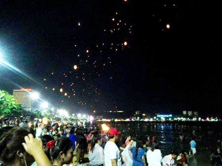 Thousands of khomloys fill the night sky.