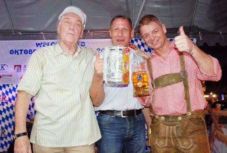 Winner of the beer drinking contest earned an original Paulaner one litre beer mug.