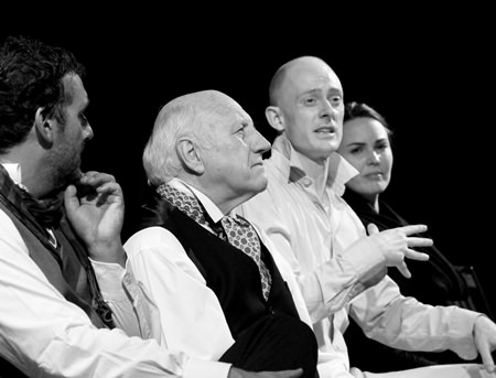 (L to R) Actors Nigel Miles-Thomas, Paul Haley, Robin Berry; and Caroline O'Hara.
