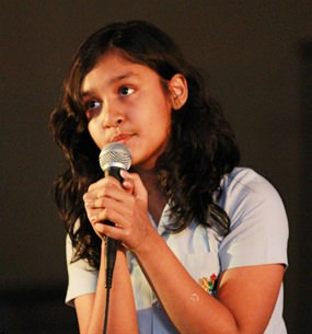 A Year 9 student sings at the Talent Show.