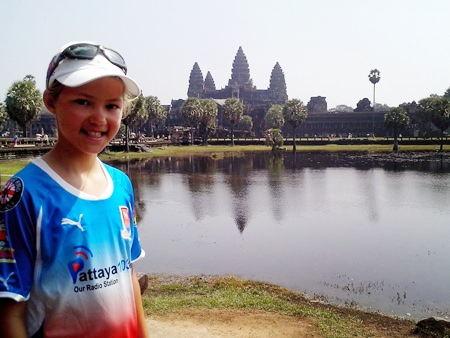 Outside Angkor Wat after cycling 459km from Ayutthaya in Thailand.
