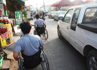 It can be quite dangerous for people in wheelchairs to get from the Redemptorist Center to Big C Extra.