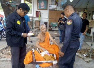 Kan Somyos was brought to Chaimongkol Temple where he was defrocked for drunkenness and gambling.
