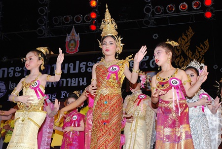 """Young women compete in a recent Loy Krathong """"Nu Noi (Young Miss) Noppamas"""" pageant at Bali Hai Pier."""