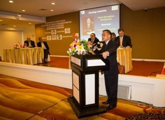TAT Governor Suraphon Svetasreni addresses the Thailand Tourism Marketing Safety and Security Forum in Bangkok.