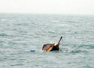 One of three fishing boats that sank during the storm. All aboard were rescued safely.