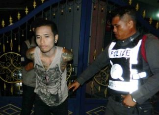 Police arrest Narong Pimkaw who didn't know that Apple phones have built in tracking software.