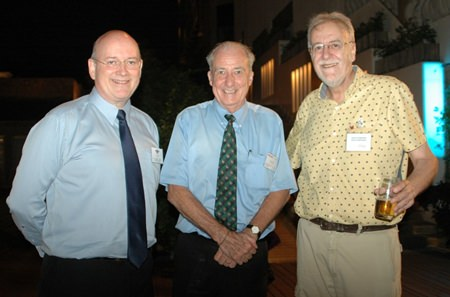 (L to R) Graham Macdonald, MBE, Dr. Iain Corness from Pattaya Mail TV, and Chris Thatcher, group chairman Anglo-Thai Legal Co., Ltd.