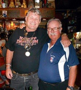 Birthday boy Bjarne Nielsen (left) with Dave Richardson.