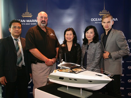 (From left): Prommate Nathomtong, Director, Service Promotion Division, Tourism Authority of Thailand; Scott Finsten, Harbour Master, Ocean Marina Yacht Club; Wilaiwan Thawitsri, Tourism Authority of Thailand Deputy Governor for Tourism Products & Business; Supatra Angkawinijwong, Deputy Managing Director, Ocean Property ; and a model from Edox, pose at a press conference to announce this year's Pattaya Boat Show.