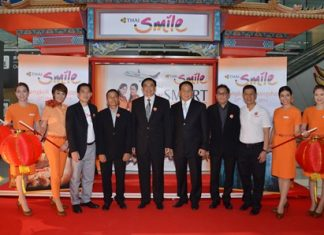 Dr. Sorajak Kasemsuvan (5th left), THAI President, presided over the opening ceremony for the two new destinations. Also participating at the ceremony were Chokchai Panyayong (3rd right), THAI Senior Executive Vice President of Commercial; Woranate Laprabang (3rd left), Managing Director of THAI Smile, Aphinun Vannagkura (4th right), Executive Vice President, Aeronautical Radio of Thailand, Flying Officer Chaturongkapon Sodmanee (4th left), General Manager of Don Mueang International Airport, and Group Captain Samai Chanthon (5th right), Vice President Aerodrome Standards and Occupational Health Department.