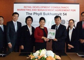 Dr. Kaweepoj Worayingyong, Managing Director of Saranrat Development Co., Ltd., hands over the retail service contract to Suphin Mechuchep, Managing Director of Jones Lang LaSalle (Thailand) Limited, appointing Jones Lang LaSalle as the retail development consultant, marketing agent and property manager for The Phyll.