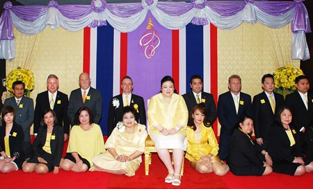HRH Princess Soamsawalee graciously presided over a charity event in celebration of H.M. the King's 86th birthday at the Amari Watergate Bangkok recently. The fundraiser was organised by Saisom Wongsasuluck (seated 4th left), President of the Caring Hearts for AIDS Foundation, in cooperation with Amari Watergate Bangkok, led by GM Pierre Andre Pelletier (kneeling 4th left). The proceeds will be donated to the Caring Hearts for AIDS Foundation.