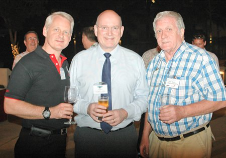 (L to R) Alain Deurwaerder (MD Ducati Thailand), Graham MacDonald, from MGMB, and James Howard, Oil Field Equipment Services.