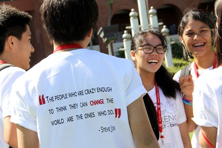 This inspiring quote from Steve Jobs is printed on the back of the event shirts.