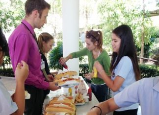 An army of students served up the ketchup, mustard and rolls!