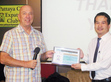 MC Roy Albiston presents Dr Mungkorn with a Certificate of Appreciation as thanks for his very informative talk.