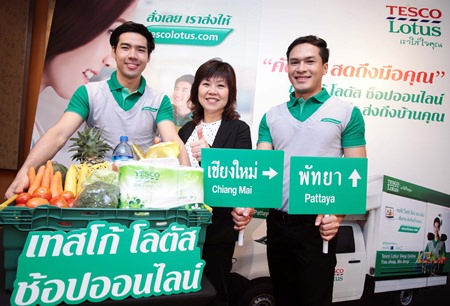 """Tesco Lotus Marketing Director Wanna Swuddigul announced the extension of Online Shopping service upcountry, starting with Pattaya and Chiang Mai.  Tesco Lotus is also introducing a new """"Click and Collect"""" service enabling shoppers to order online and pick up shopping from their local store."""
