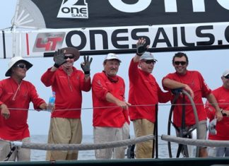 Ray Roberts and his crew on OneSails Racing celebrate overall victory in the IRC0 class.