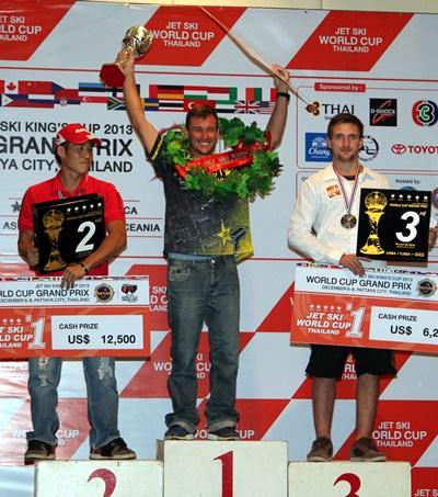 South Africa's Dustin Motzouris (centre) won the Pro Standing series.
