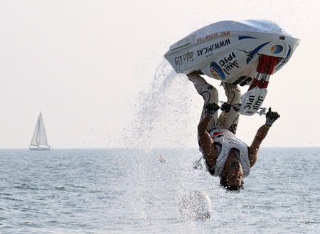 Masao Noguchi of Japan performs a spectacular somersault during the Pro Freestyle competition at the 2013 King's Cup Jet-Ski World Cup Grand Prix held at Jomtien Beach from Dec. 4-8.  Thailand had a successful week, winning 4 out of the 5 main categories.