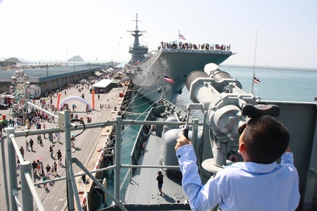 Focusing in on the HTMS Chakri Naruebet, Thailand's only aircraft carrier.