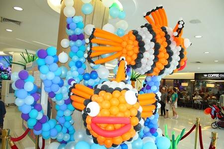 """""""Nemo"""" balloons add color to the Royal Garden Plaza."""