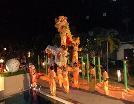 Thai Garden Resort welcomes in the New Year with a lion and dragon performance.