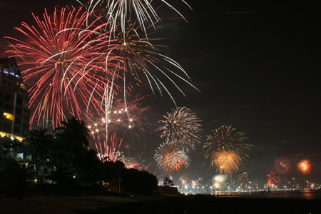 Shops and hotels send out fireworks all over Pattaya to celebrate the arrival of 2014.