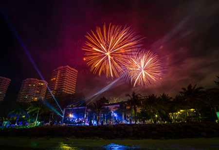 Fireworks glow brightly over the Sheraton Pattaya when the clock strikes midnight on New Year's Eve.