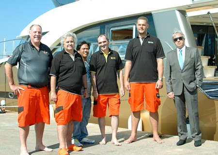 """The Bakri Cono Team. (l-r) Philippe Guenat, Director International Sales; Peter Jacops, Production Manager; Dhodee Macaraeg, Project Manager;  Michel Royer, Direcor of Marine Electronic Development - """"DMED""""; Bernard Lamprecht, General Manager and Bernard Mondoulet, Director of European Sales."""