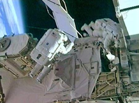Astronauts Sunita Williams (L) and Michael Lopez-Algeria are shown during a spacewalk on the International Space Station, Jan. 31, 2007.
