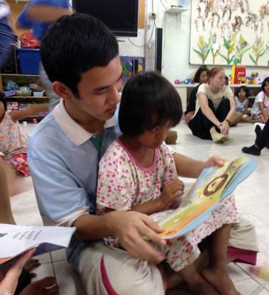 The kids love when we read story books to them, especially in English!