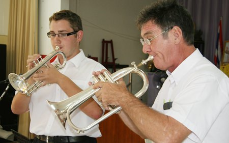 At the School for the Blind, Brass teacher Mr. Mansell kept the children entertained.