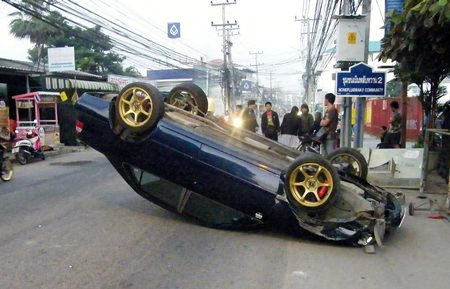 The Shadow knows?  Rewat Rut flipped his car, allegedly because he saw a shadow cross the road.