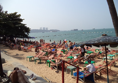 "Area beaches are once again full, in part due to many people escaping the ""shutdown"" in Bangkok."