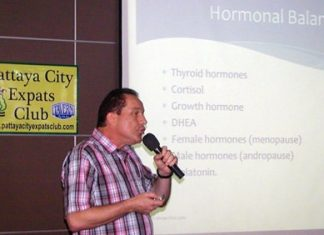 "Dr Olivier Meyer, Swiss doctor practising in Pattaya mainly to expats, was PCEC's speaker for the 5th of January. Dr Olivier's talk was about Anti-Aging Medicine, the goal of anti-aging medicine being not just adding time to life, but also ""giving better life to time."""
