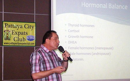 """Dr Olivier Meyer, Swiss doctor practising in Pattaya mainly to expats, was PCEC's speaker for the 5th of January. Dr Olivier's talk was about Anti-Aging Medicine, the goal of anti-aging medicine being not just adding time to life, but also """"giving better life to time."""""""