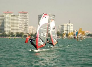 A reduced fleet takes to the water Jan. 10 in Jomtien for the Pattaya International Windsurfing Competition.