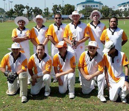 The Pattaya Cricket Club team pose for a photo at the Harrow International School in Bangkok, Sunday, Jan. 12.